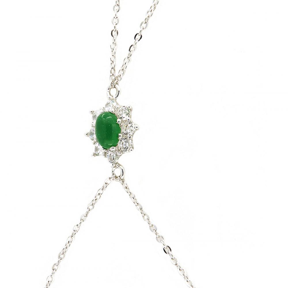 eurosilver - Bracelet Bague Marquise Jade Argent