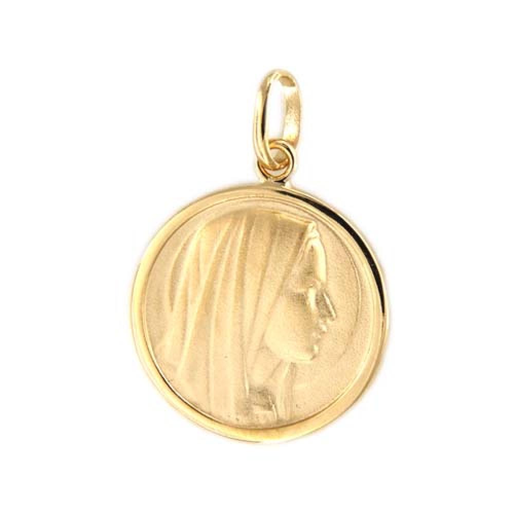 eurosilver - Pendentif Médaille Vierge Plaqué Or