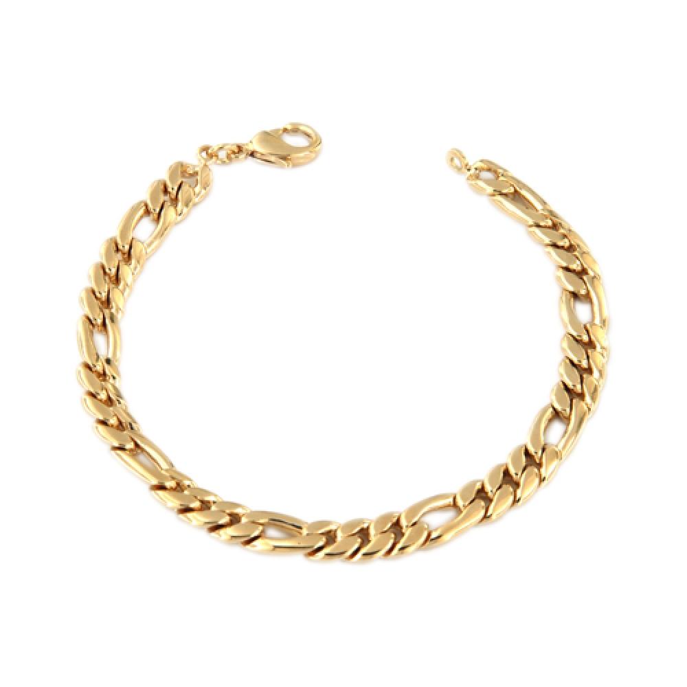 eurosilver - Bracelet Plaqué Or Alterné 1-3 7mm