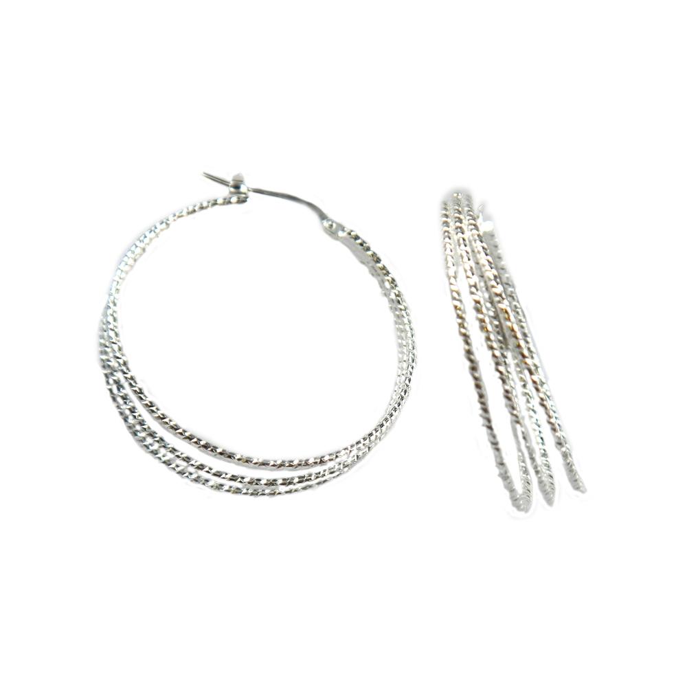 eurosilver - Créole argent diamanté 3 fils