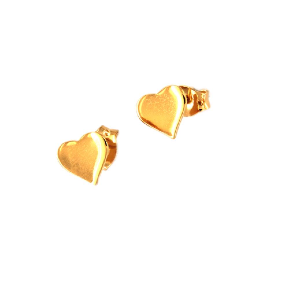 eurosilver - Boucles d'oreilles Cœur Plaqué Or