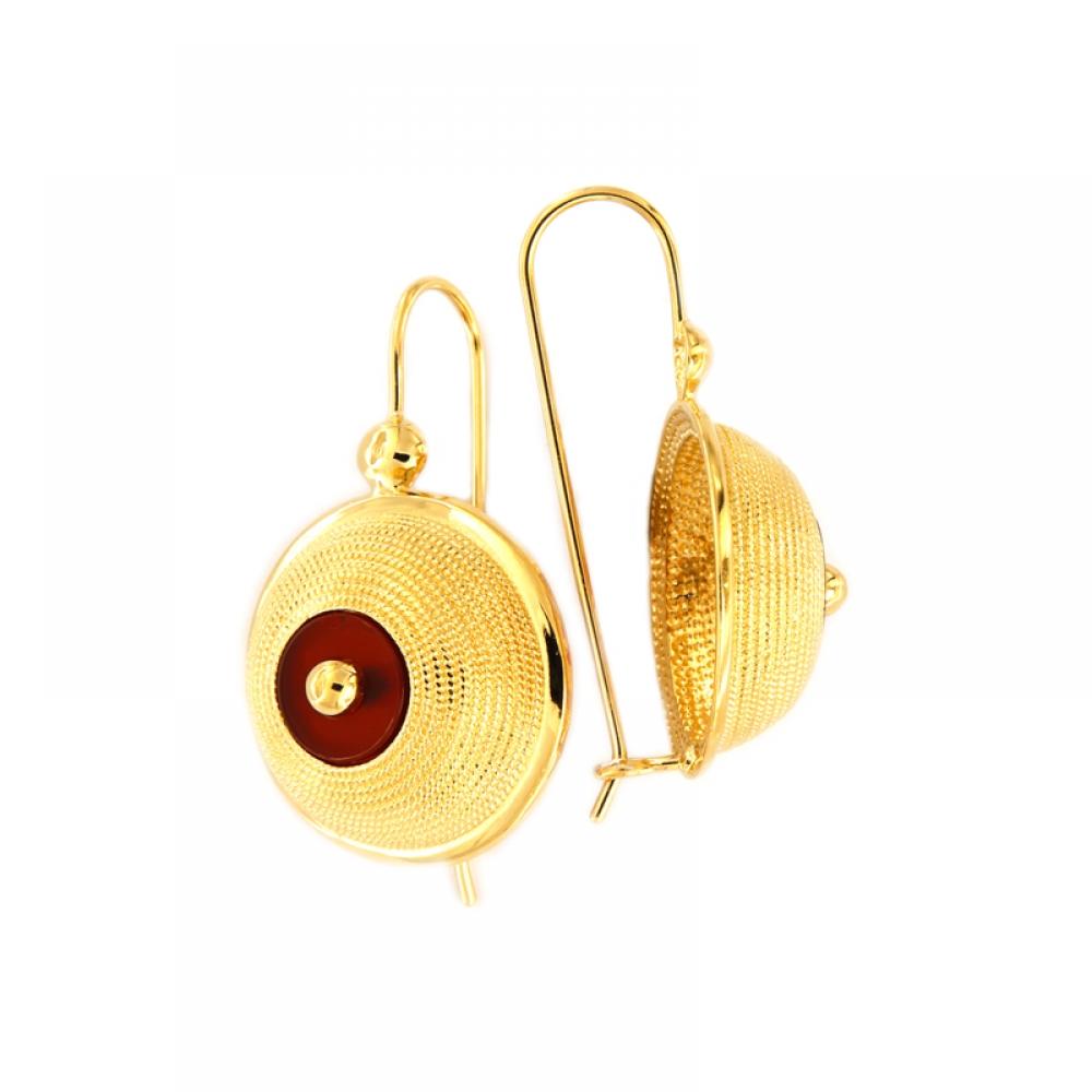 eurosilver - Boucles d'oreille Plaqué Or Cornaline