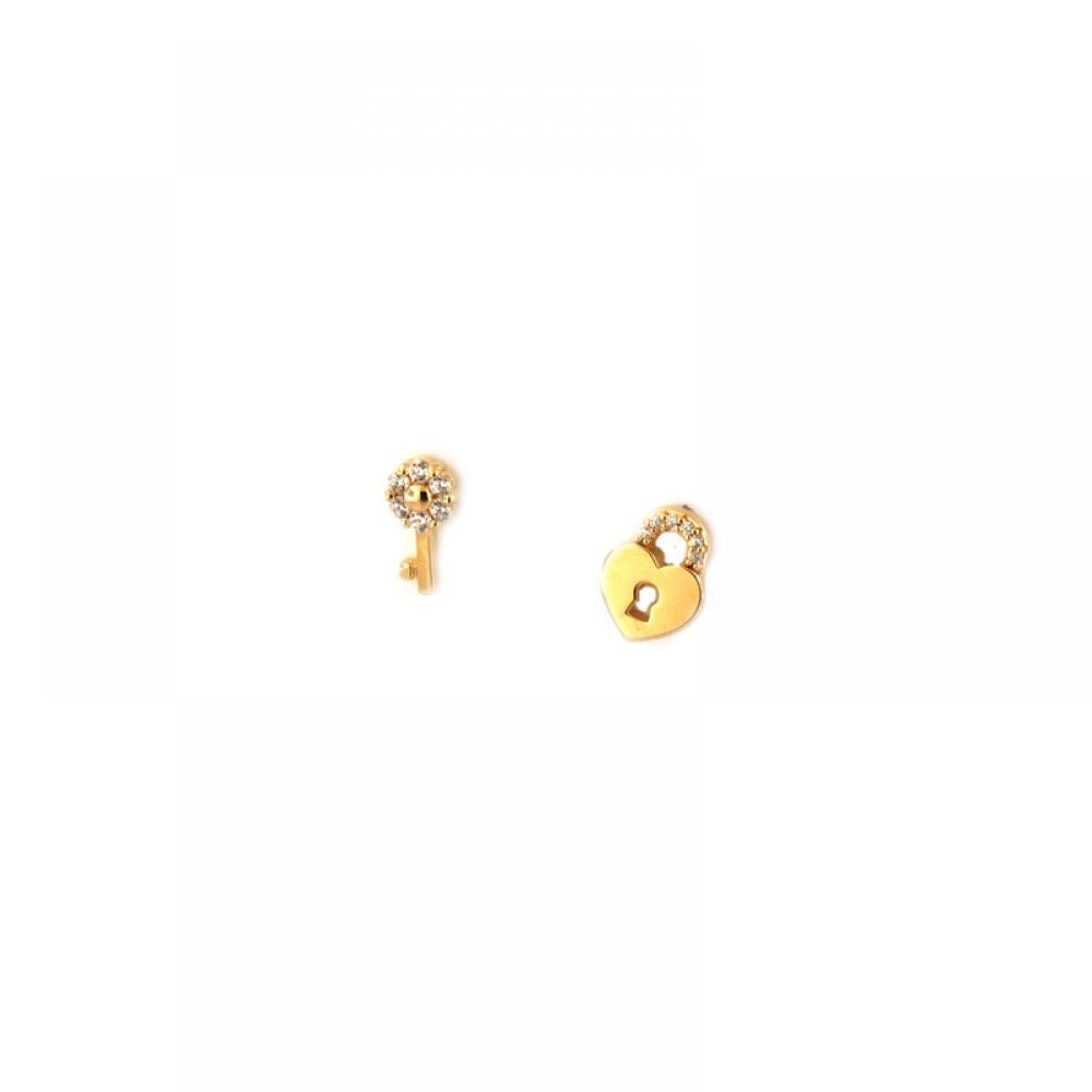 eurosilver - Boucles d'oreilles Clé et Cadenas Plaqué Or