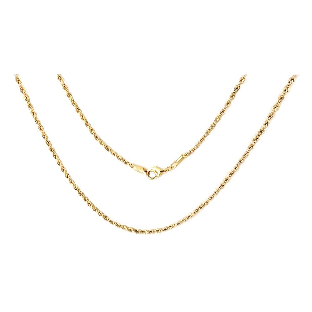 eurosilver - Collier Torsade 3mm Diamanté Plaqué Or