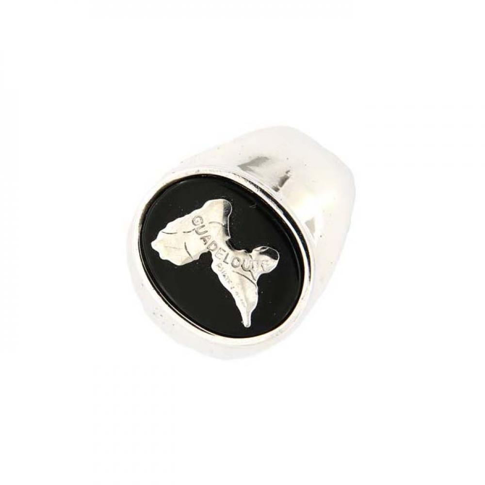 eurosilver - Chevalière Argent Guadeloupe Onyx