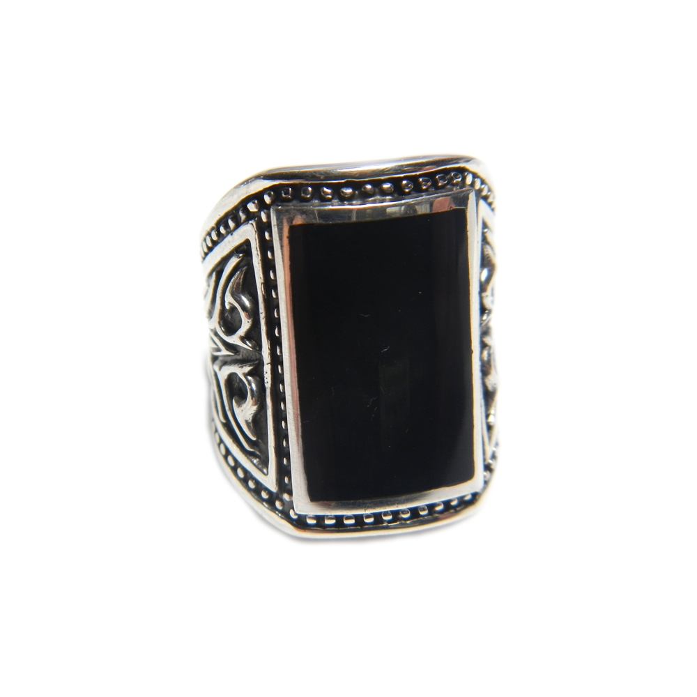 eurosilver - Bague Homme Rectangulaire Onyx
