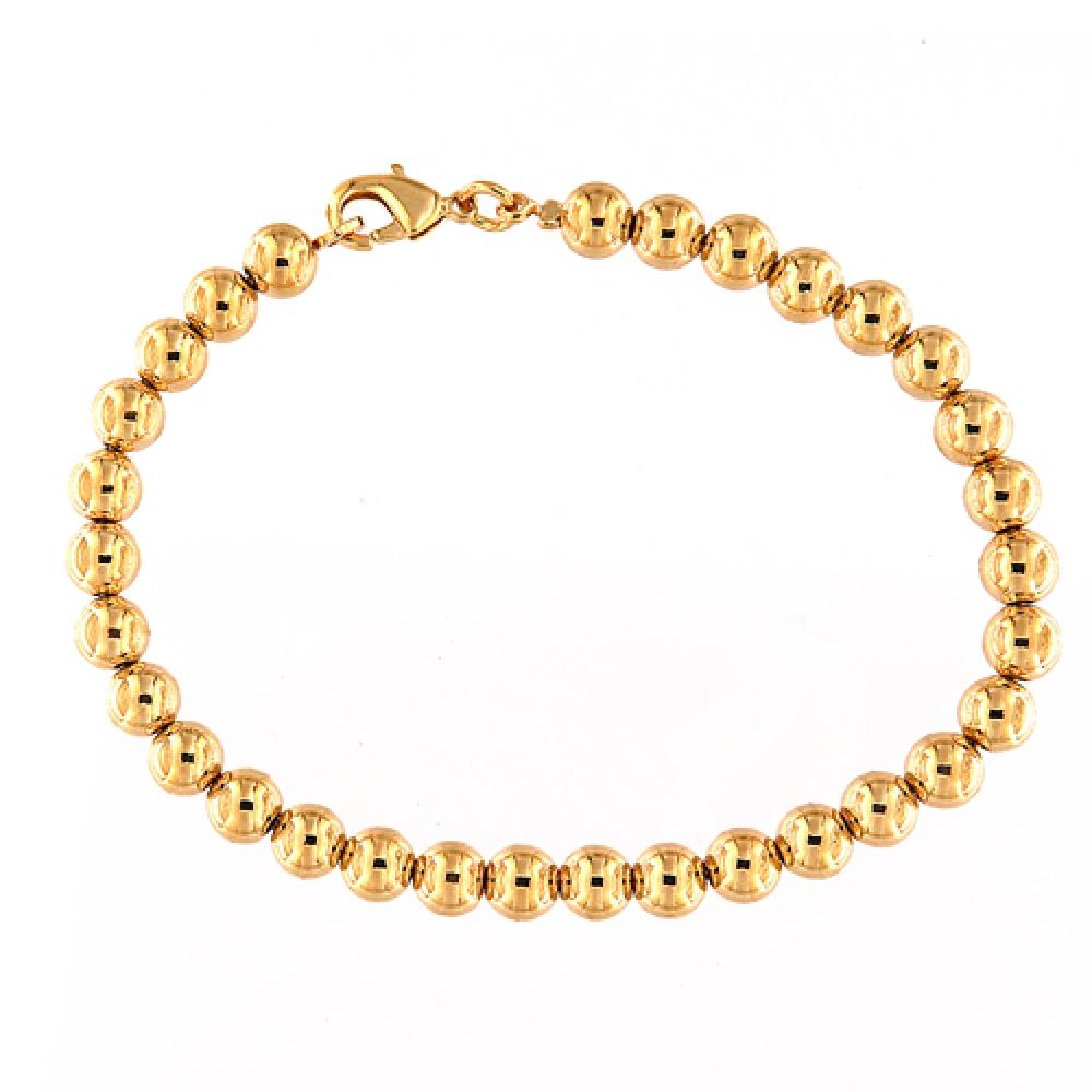 eurosilver - Bracelet Boule 7mm Plaqué Or