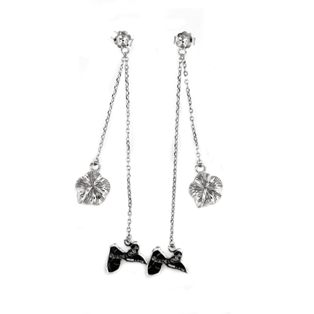 eurosilver - Boucles  Guadeloupe-Hibiscus Argent