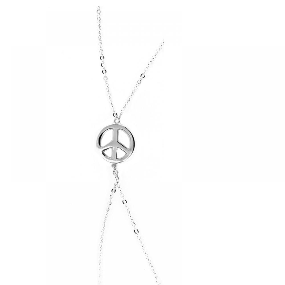 eurosilver - Bracelet Bague Argent Peace and Love