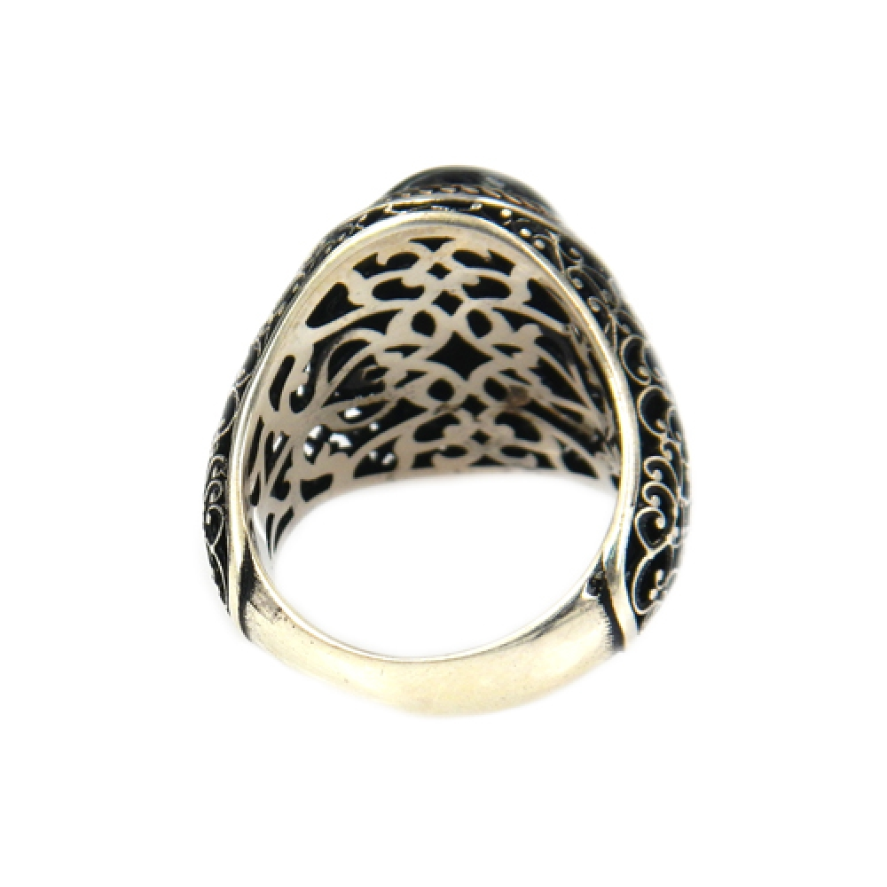 eurosilver - Bague Homme Onyx Ovale Argent