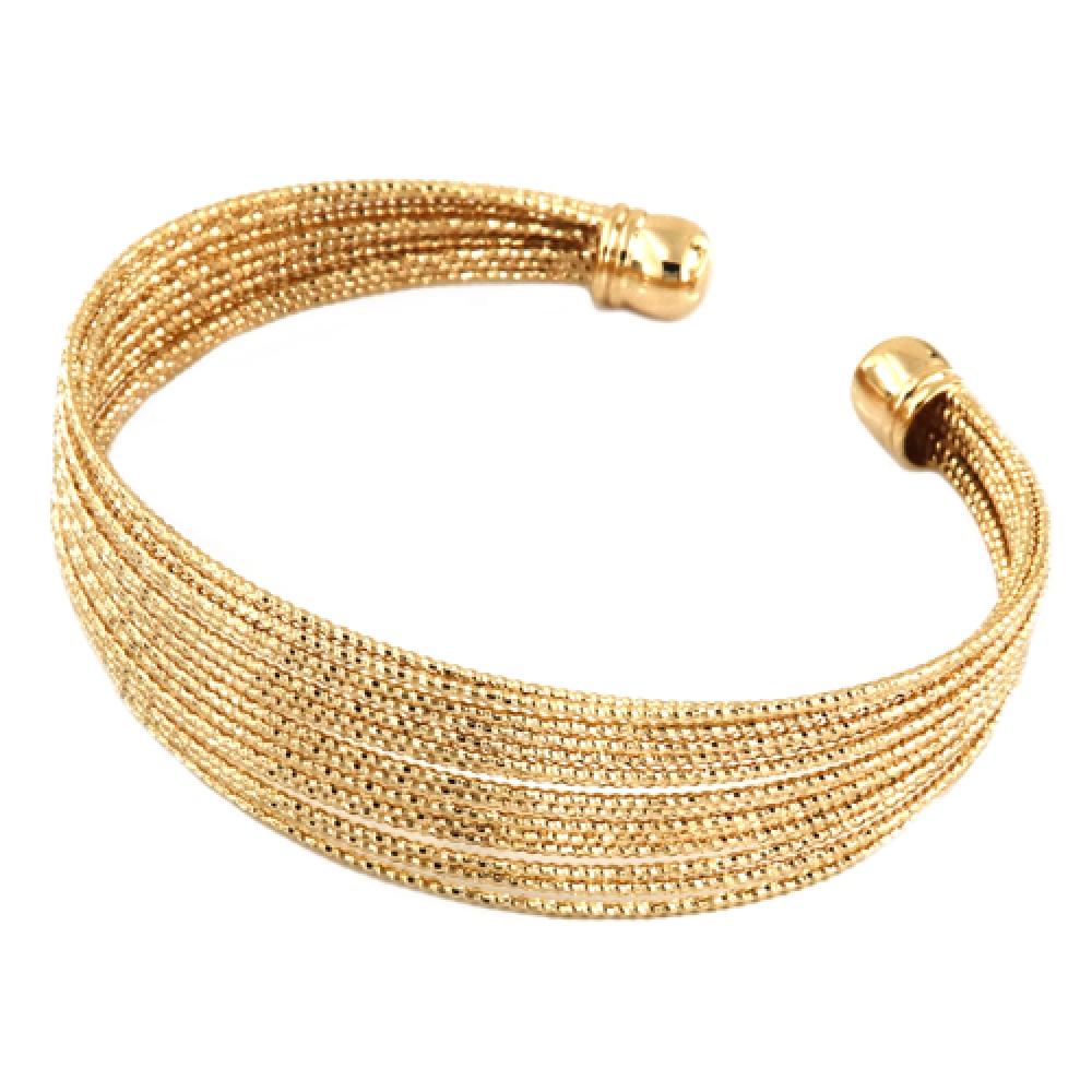 eurosilver - Bracelet Jonc Diamanté Plaqué Or