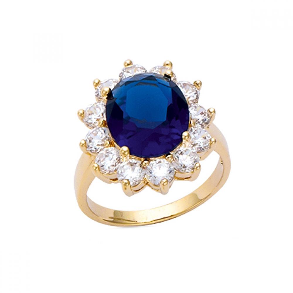 eurosilver - Bague Plaqué Or Ovale Bleu Saphir