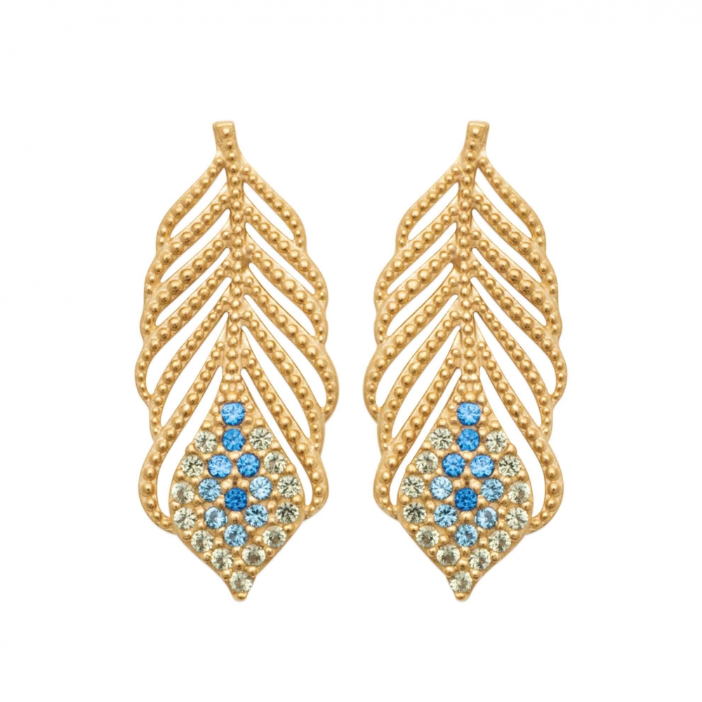 eurosilver - Boucles d'oreilles Plume OZ Bleu