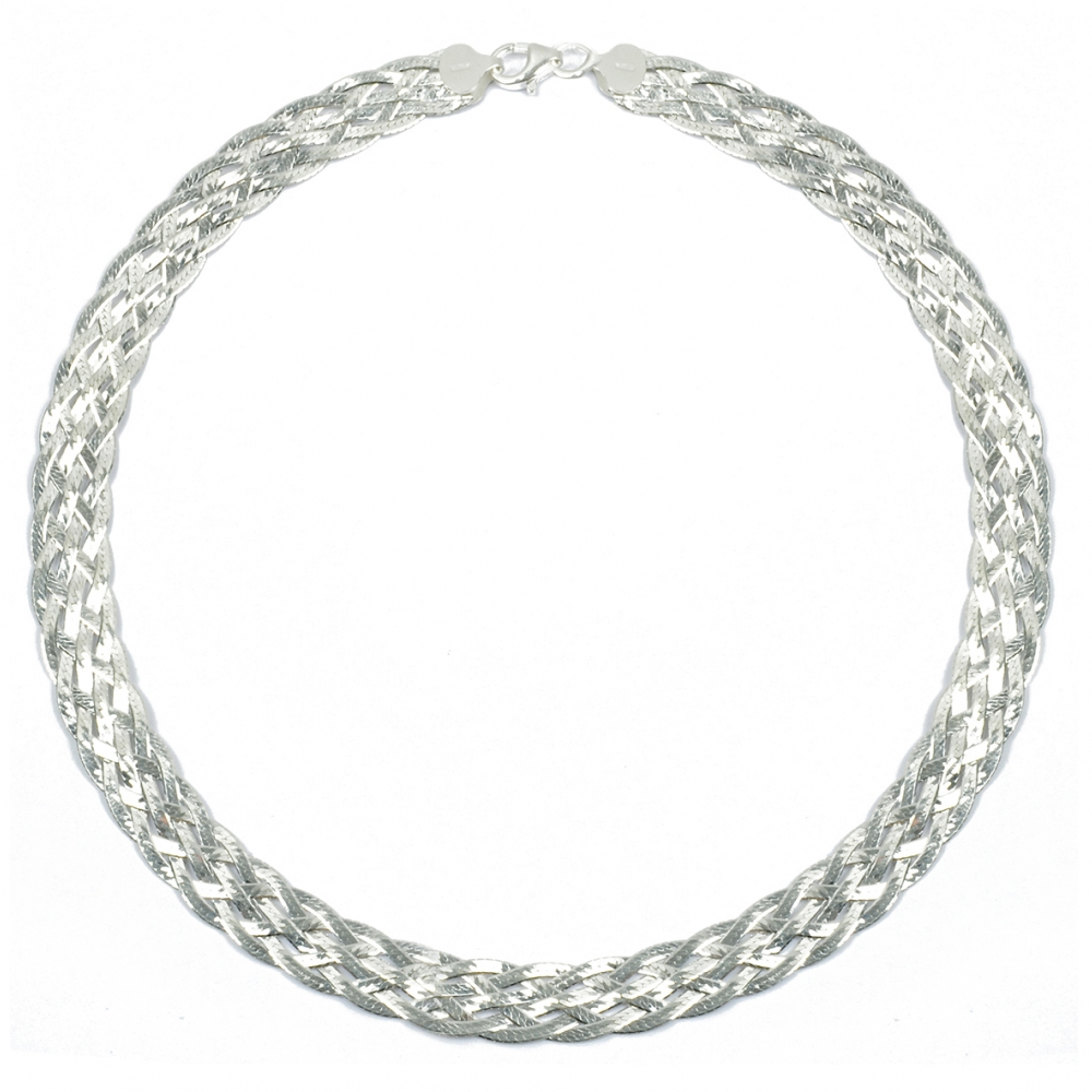 eurosilver - Collier tressé diamanté