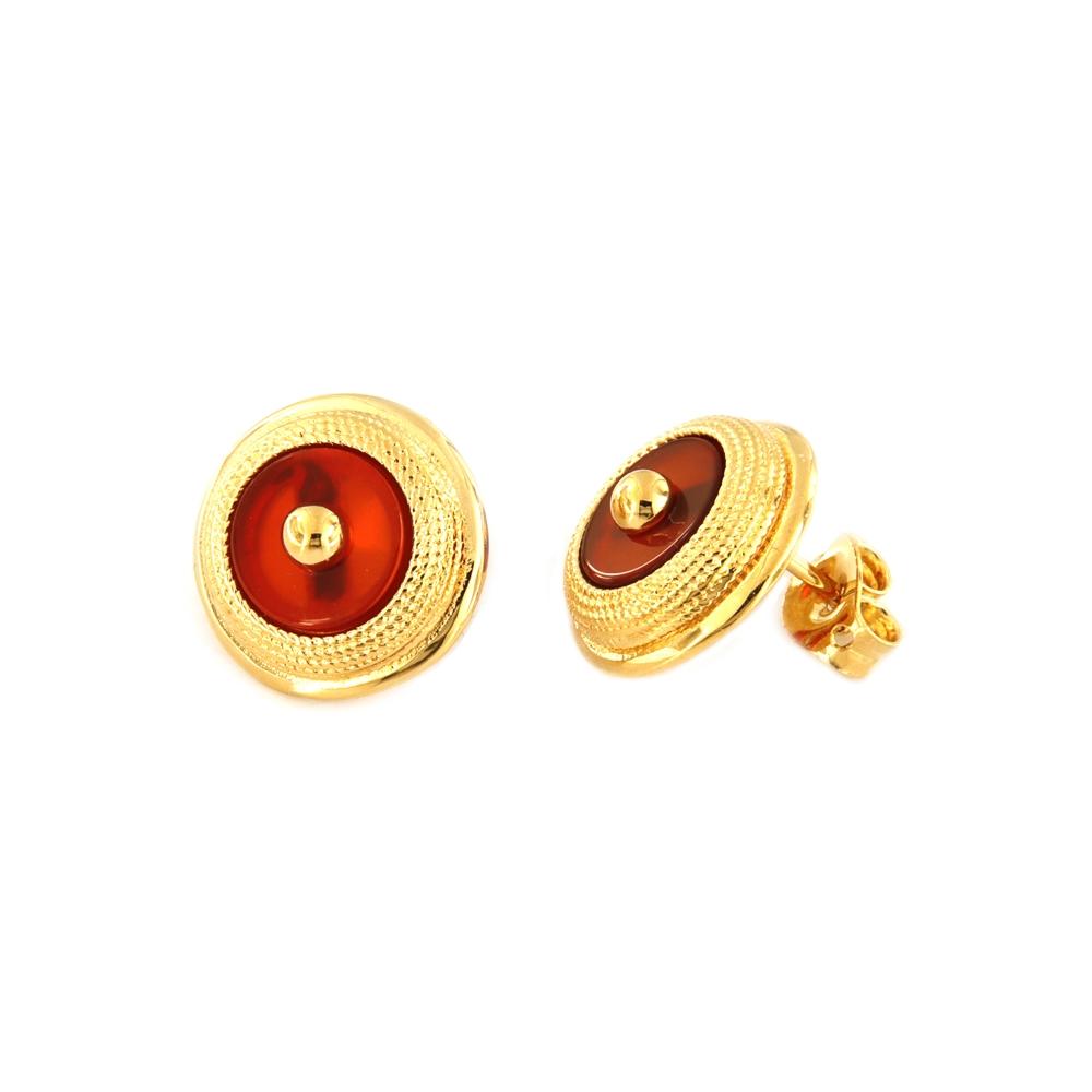eurosilver - Boucles d'oreilles Plaqué Or Cornaline
