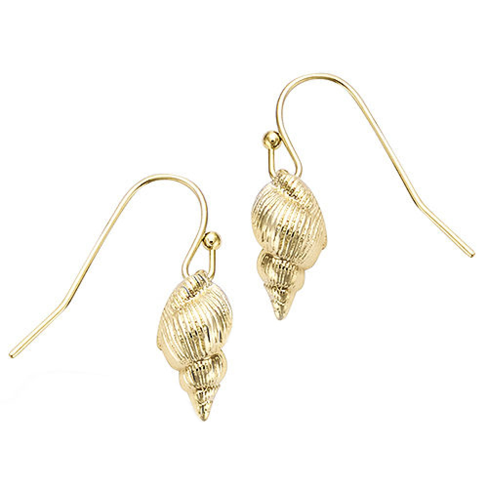 eurosilver - Coquillage Boucles d'oreilles Plaqué or