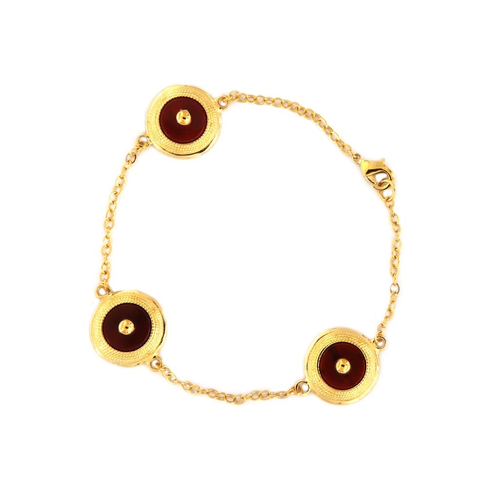eurosilver - Bracelet Plaqué Or Cornaline 3 Eléments