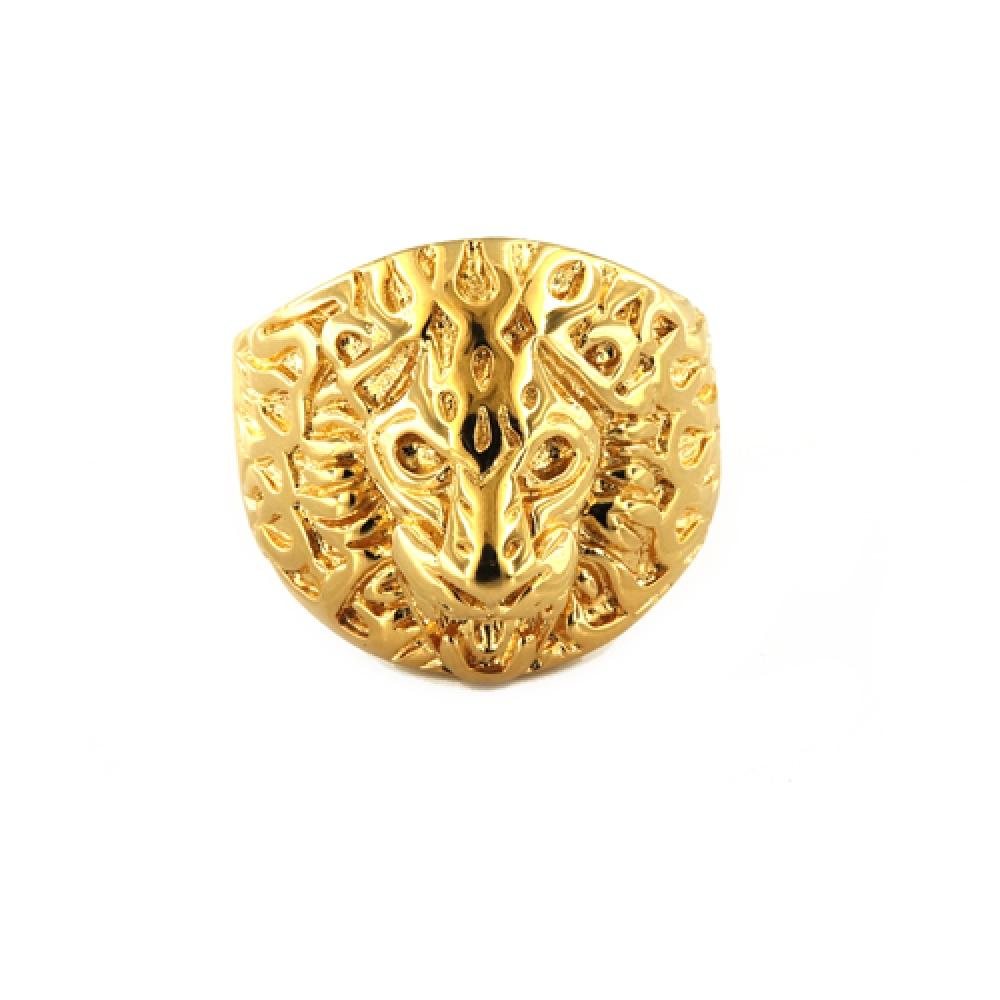 eurosilver - Bague Tête de Lion Plaqué Or